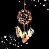 SWECOMZE DIY Metall Baumrebe LED Traumfänger mit Feder, Fensterschmuck, Wanddeko, Hängedeko