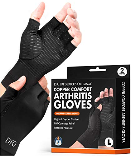 Dr. Frederick's Original Copper Comfort Arthritis Glove - 2 Gloves - Antimicrobial - Perfect Computer Typing Gloves - Fit Guaranteed - Large