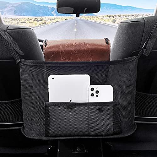Car Net Pocket Handbag Holder - Purse Holder For Car Between Seats Car Organizer Front Seat - Car Purse Storage Hander Holder For Car, Large Capacity Car Net Bag Barrier Of Pet Kids (Black-upgrade)