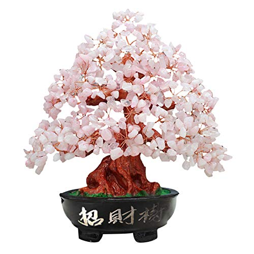 Upupto Lucky Money Tree Crystal Fortune Tree, Ornament Wealth Ornament Home Office Decoration Crafts Crafts,Rosado
