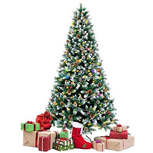 Weihnachtsbaum mit Lichtern Schneebeflockter Weihnachtsbaum mit Tannenzapfen LED-Lichterketten PVC Weihnachtskiefer für Innen- und Außendekoration Faltbarer Ständer Klappbarer Weihnachtsbaum 220cm