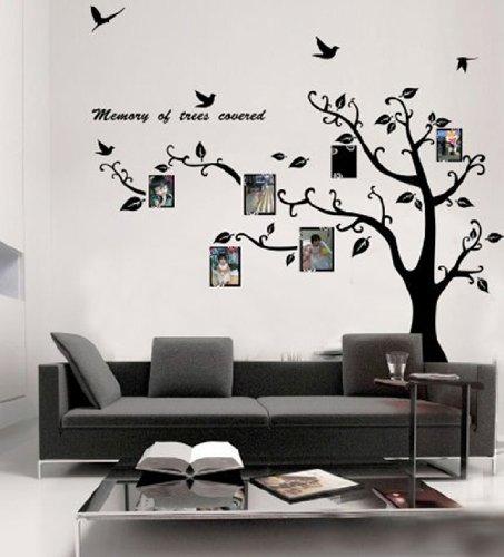Wallstickersdecal-Cornice per foto, in PVC, grande, colore: nero, Albero adesivo da parete rimovibile, motivo: 200 cm (sinistra)