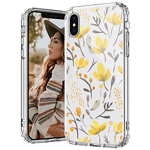 MOSNOVO iPhone Xs Case, iPhone X Case, Watercolor Floral Flower Pattern Printed Clear Design Transparent Plastic Hard Back Case with TPU Bumper Protective Case Cover for iPhone X iPhone Xs