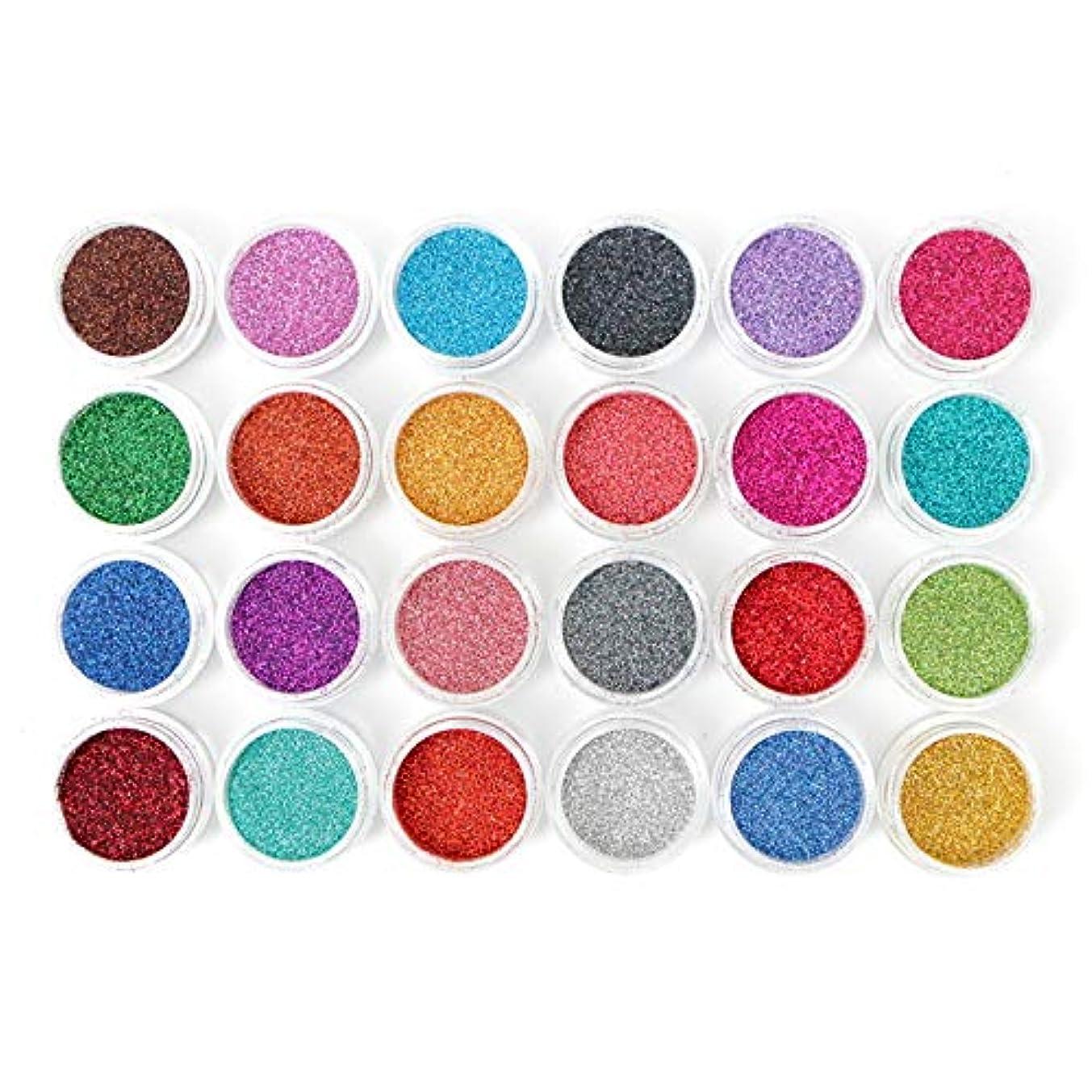 テナント天窓硫黄[LALONA] ラメパウダー (微粒子タイプ)(24色セット) グリッター定番カラー (0.2mm)