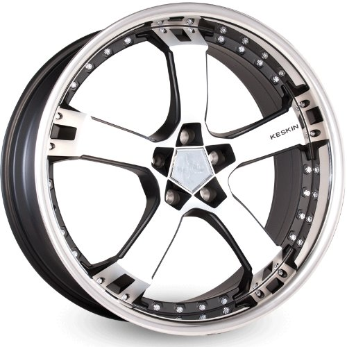 KESKIN KT10 MATT BLACK FRONT POLISH STEEL LIP 9,5x18 ET30 5.00x112.00 Hub Hole 72.60 mm - Alu felgen