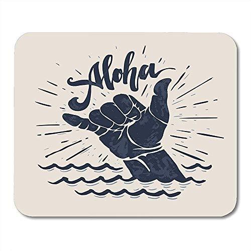 Mousepad Surf Aloha Schriftzug Surfen Shaka Handzeichen Surfer Wave Board Grafik Mauspad