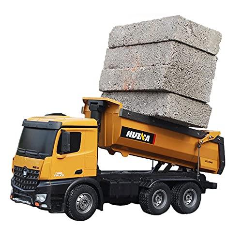 ZDYHBFE Simulación de camión de ingeniería RC Camión volquete de aleación Cargador de simulación de fundición a presión Camión de transporte de 2.4G Función de descarga hidráulica de imitación Carga d
