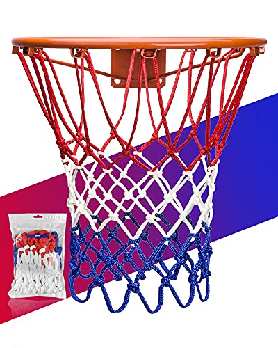 XXXYYY Basketball Net Replacement Heavy Duty, 2021 Professional On-Court Quality [6.88Ounce], Fits Outdoor Indoor Standard Rim, All Weather Anti Whip -12 Loops (Red White Blue)