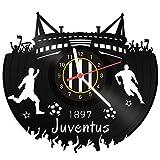 GRAVURZEILE Orologio da parete Juventus – 100% club – Upcycling Design Orologio da parete in vinile made in Germany