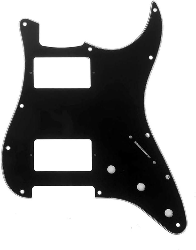 Musiclily Pro 11 Agujeros HH Strat Pickguard Humbucker Golpeador para Guitarra Fender American/México Standard Stratocaster Estilo Moderno, 3 capas Negro