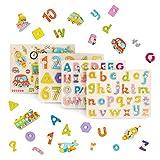 Juego De 4 Puzzle Madera - Alfabeto Abc, Números Y Formas Rompecabezas - Perfecto Para Niños En Edad Preescolar - Ayuda Para La Educación Temprana, Desarrollo Intelectual.