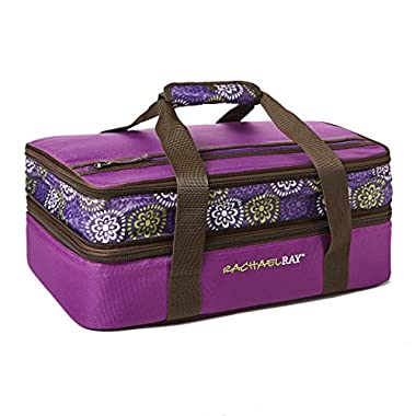 Rachael Ray Expandable Lasagna Lugger, Double Casserole Carrier for Potluck Parties, Picnics, Tailgates - Fits two 9 x13  Casserole Dishes, Purple Floral Medallion