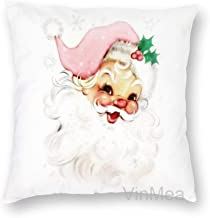 Decorative Pillow Covers Pink Retro Vintage Santa Throw Pillow Case Cushion Cover Home Decor,Square 20 X 20 Inches