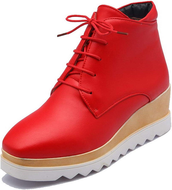 AmoonyFashion Women's Solid Pu Kitten-Heels Lace-Up Square-Toe Boots, BUSXT111304
