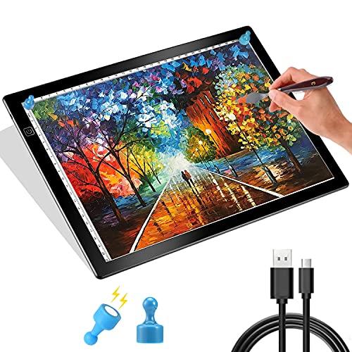 Tumax Mesa De Luz A4 Superfina de 5mm, Almohadilla de Dibujo con Cable USB, Tablero de Copia LED con Brillo Ajustable, Ideal para Creación Artística, Dibujo, Animación, Artistas