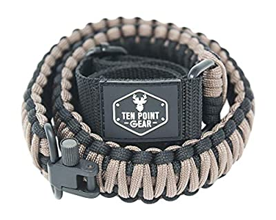Ten Point Gear Gun Sling Paracord 550 Adjustible w/Swivels (Multiple Color Options) (Black & Coyote Brown)