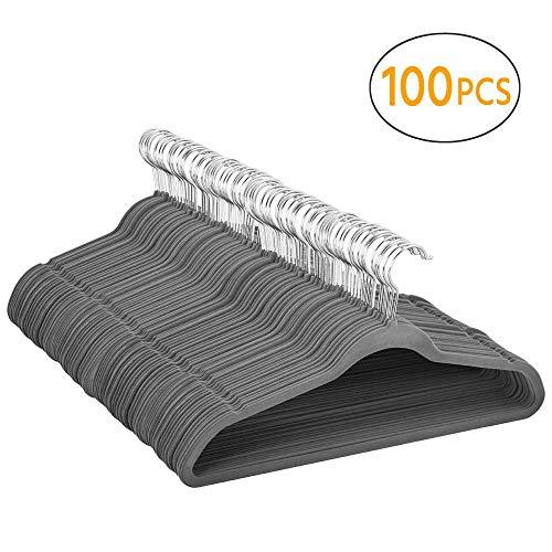 YAHEETECH Premium Non Slip Velvet Hangers 100pcs 360-degree Swivel Hanger Hook Durable & Ultra Thin Coat/Pant/Suit Hangers Gray