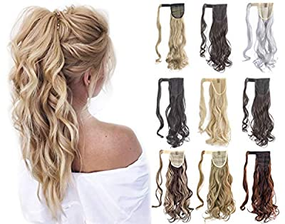 """Felendy 18"""" 24"""" Ponytail Extension Curly Straight Drawstring Hairpiece Wrap Around Long Hair Extension for Women"""