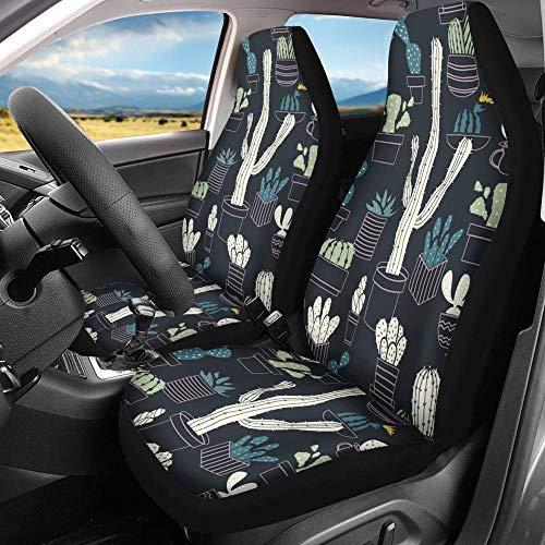 Plant Cactus Prints Juego de 2 fundas para asientos de vehículos Fundas cómodas para asientos de automóviles que se adaptan a la mayoría de los protectores de asientos de automóviles para vehículos
