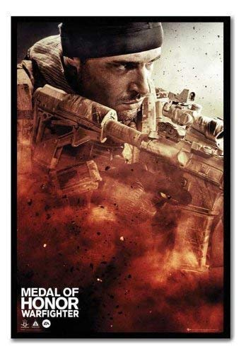 Medal Of Honour Poster Warfighter, Cover Kork Pinnwand, schwarzer Rahmen, 96,5x 66cm (ca. 96,5x 66cm)