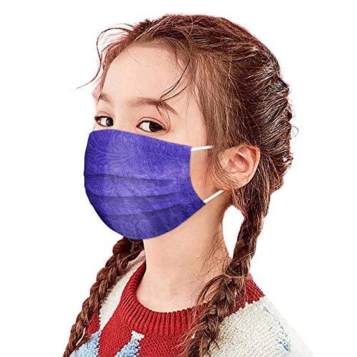 757 Niños 3 Capas Masca_rillas Cómodo Respirable Bandanas con Elástico para Los Oídos para Actividades al Aire Libre(10/50 Piezas)