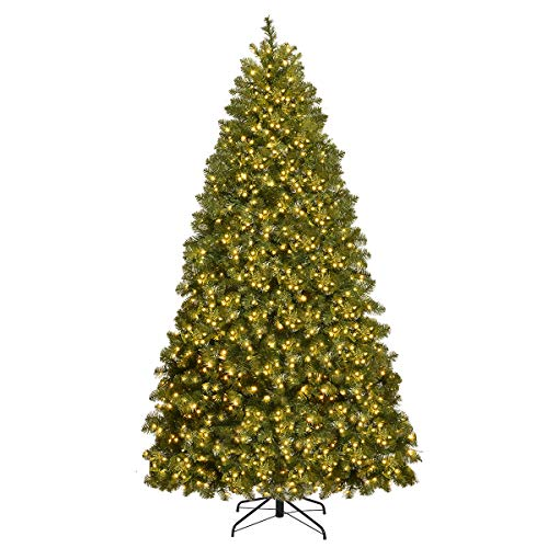 Goplus 6FT Pre-lit Christmas Tree, Premium Hinged Spruce Tree, with 560 LED Light and Metal Stand, Xmax Tree for Holiday Indoor Decor