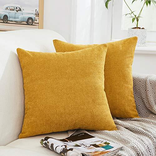 MerNETTE - Set di 2 federe decorative in ciniglia, per cuscino, decorazione per la casa, divano, letto, sedia, Ciniglia, Oro, 40x40cm, 2 Pieces