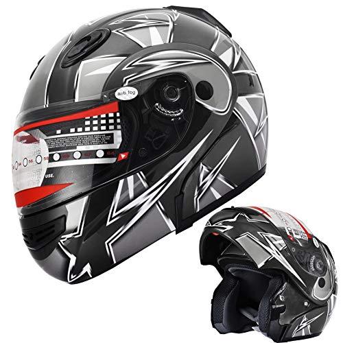 X4 Motorcycle Helmet Adult DOT Modular Flip up Full Face Sports Bike Snowmobile Helmet with Anti Fog Shield (138 Pink, M)