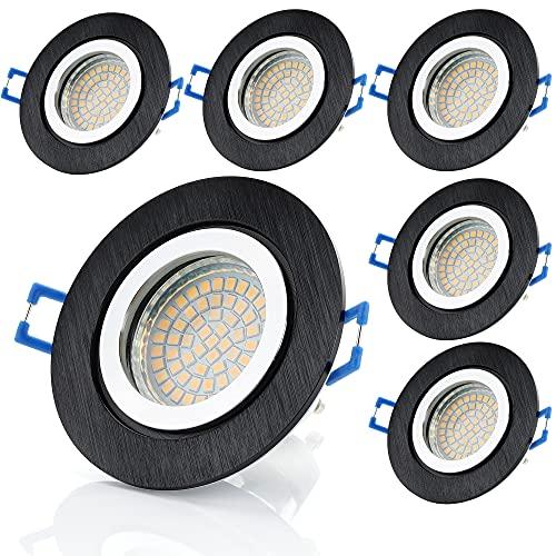 Sweet Led Lot de 6 spots encastrables en aluminium IP44 pour salle de bain ou salle de bain avec LED GU10, fermeture à clic, protection contre les projections d'eau IP44 Blanc chaud