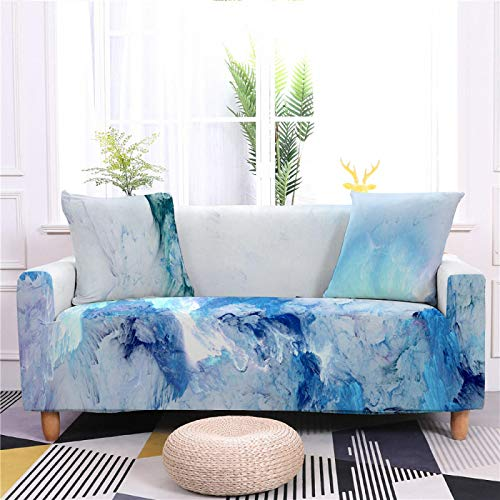 Universal Sofa Cover Spandex Stretch Couch Slipcover Blue White Cloud Pattern Tight Fitted Armchair Loveseat Settee Cover 1/2/3/4 Seater Sofa Protector,4,seater 235,300cm