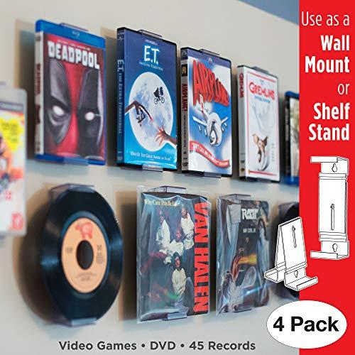 CollectorMount Accesorio de DVD y Videojuego, 45 RPM y BLU-Ray Montaje en Pared y Soporte para Estantería, Invisible y Ajustable, Paquete de 4