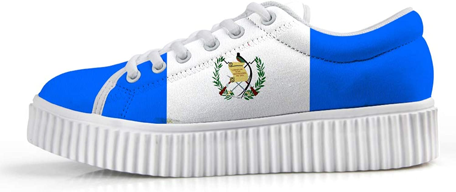 Owaheson Platform Lace up Sneaker Casual Chunky Walking shoes Low Top Women Guatemala Flag