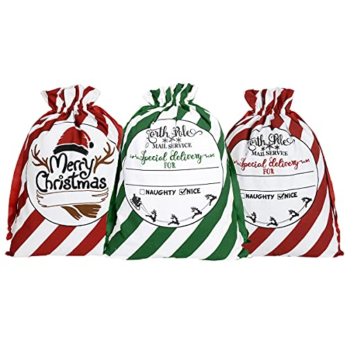 LEPUTA Christmas Bags Cotton Canvas Santa Sacks Reusable Burlap Xmas Gift Bags with Drawstring Extra Large 27.5'x19.5' (3 Pack)