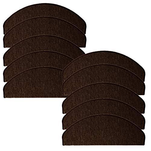 JEMIDI Stufenmatten Treppenmatten 64cm x 24cm mit geketteltem Rand und starker Befestigung (Dunkelbraun, 10)