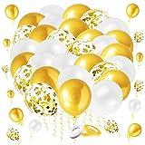 LINSOCLE 60 Piezas Globos Dorados, Globos Blancos, Globo Confeti Dorado, Kit Globos Blanco y Dorado para Bodas Aniversario iesta Decoracion