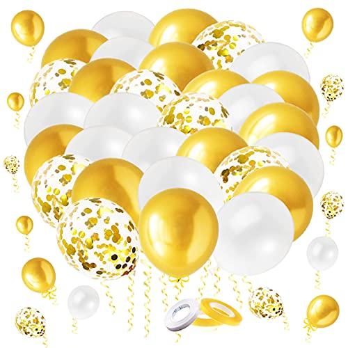 LINSOCLE 60 Pezzi Palloncini Dorati, Palloncini Oro, Palloncini Bianchi e Oro Metallo , Palloncini Coriandoli Oro, Set Palloncini Oro per Festa