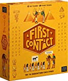 First contact board game where you defeat aliens with specific language