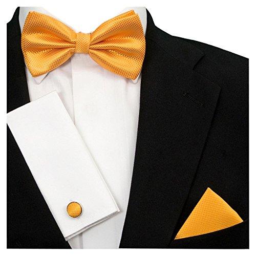 GASSANI GASSANI 3-SET Gelbe Fliege Grid Karo kariert   Schleife Manschettenknöpfe Einstecktuch   Fliegenset zum Anzug Seide-Optik
