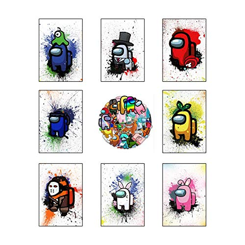 Among US Posters 8PCS With 50 Stickers Prints Set Watercolor Game Decor Wall Art for Bedroom Living Room 11.5 x 16.5 inch