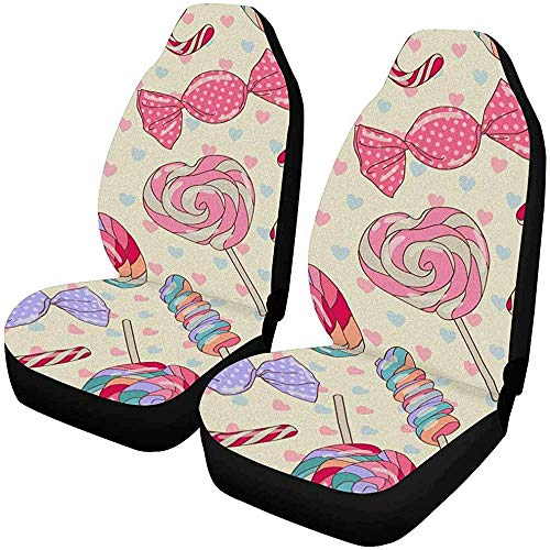 MOLLUDY Juego de 2 fundas de asientos delanteros Candy Lollipop Candy deliciosos y coloridos, cojín del asiento delantero del coche que se adapta a la mayoría