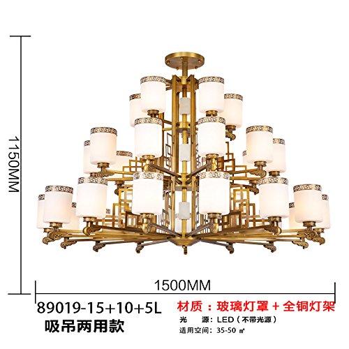 Nuovi lampadari cinesi Lampadario rame neo-classico marmo lampada salotto illuminazione sala da pranzo Lampadari Villa duplex casa, 89019-15 + 10 + 5 (imitazione del marmo)
