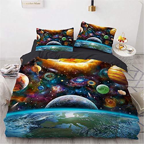 BATTE Galaxie-Bettbezug-Set, 3D-Druck, Weltraum-Thema, wendbar, Himmel, Universum, Mond, bedruckter Bettbezug, für Bettwäsche, Decro (E, 135 x 200 cm)