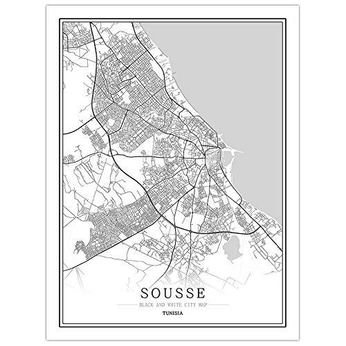 pgjremd Túnez Creativo Mapa De La Ciudad En Blanco Y Negro Arte De La Capital Cartel Arte De La Pared Sin Marco50X60Cm C1322