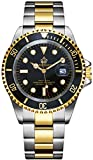 REGINALD Men Gold Watch GMT Rotatable Bezel Waterproof Sapphire Stainless Steel Date Quartz Black Watches (Gold/Black)