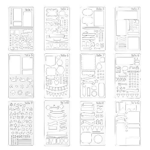 Hemore Bullet Journal Schablone Plastik Planer Schablonen Tagebuch/Tagebuch/Scrapbook DIY Zeichnung Vorlage Schablone 10,2 x 17,8 cm, 12 Stück