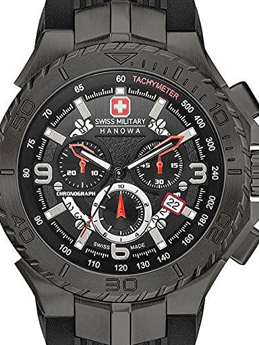 Reloj de Cuarzo Swiss Military Hanowa Navy Seaman Chrono, Negro, PVD, 45 mm