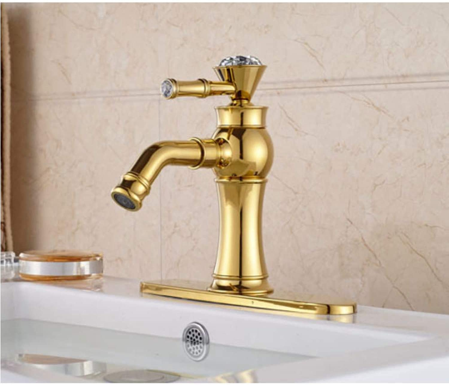 Water Tap Luxury Crystal gold Brass Waterfall Spout Single Lever Batrhroom Sink Basin Faucet Mixer Tap with Cover Plate