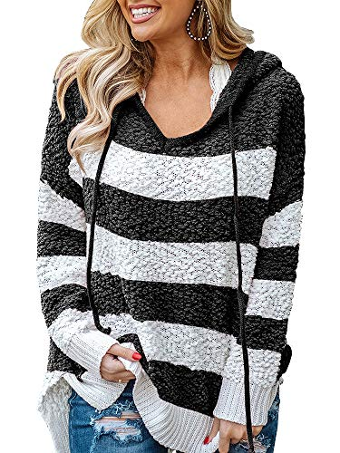Chang Yun Women's Stripe Sherpa Pullover Fuzzy Fleece Hoodie Long Sleeve Sweatshirts Side Slit Oversized Tops Black