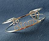 Personalized Wire Name Bracelet, Cuff, Bangle~Silver or Gold~Swarovski Birthstone(s)~Any Name(s)~Gift for Mom, Grandma, Daughter, New Mom, Twin Mom~Handcrafted Jewelry