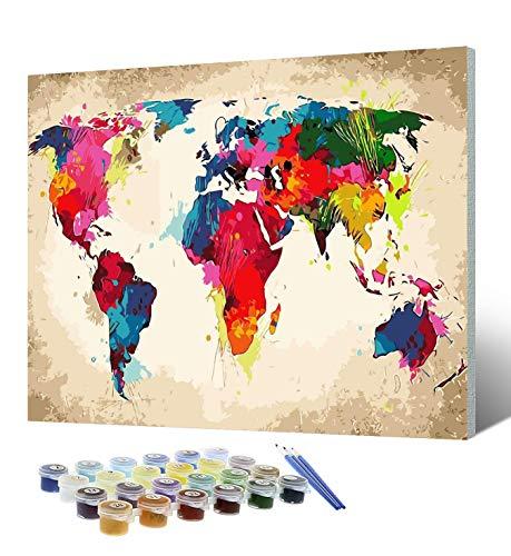 Tyrkuiy Malen nach Zahlen für Erwachsene, DIY Leinwand Öl Acryl Malerei Kit für Erwachsene Kinder Anfänger 16 x 20 Zoll (mit Rahmen)